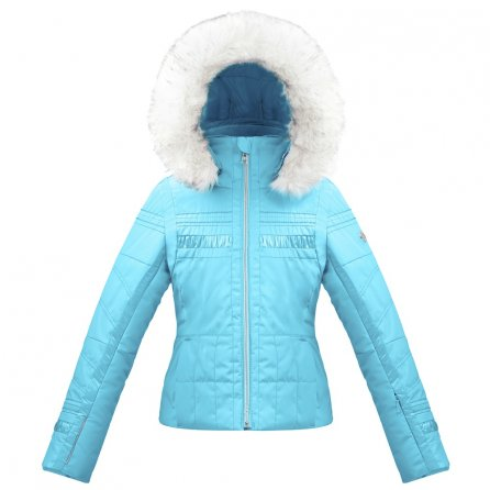 Poivre Blanc Smocked Ski Jacket with Faux Fur (Girls') - Azure Blue
