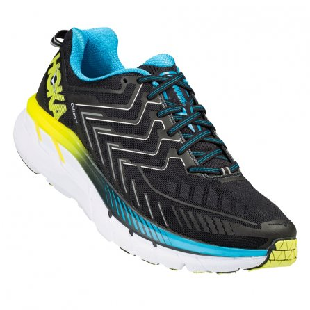 Hoka One One Clifton 4 Running Shoes (Men's) - Black/Cyan/Citrus