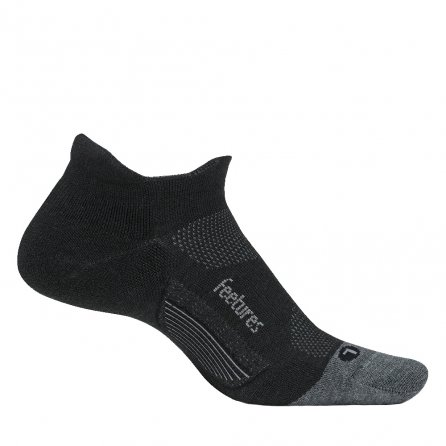 Feetures Merino 10 Ultra Light No Show Tab Running Sock (Adults') - Charcoal/Gray