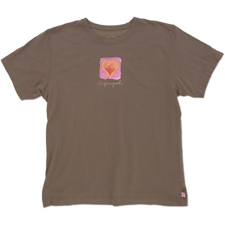 Life is Good Watercolor Heart Creamy T-Shirt (Women's) -