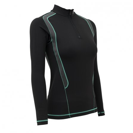 CW-X Insulator Web Zip Baselayer Top (Women's)  - Black/Gray/Turquoise
