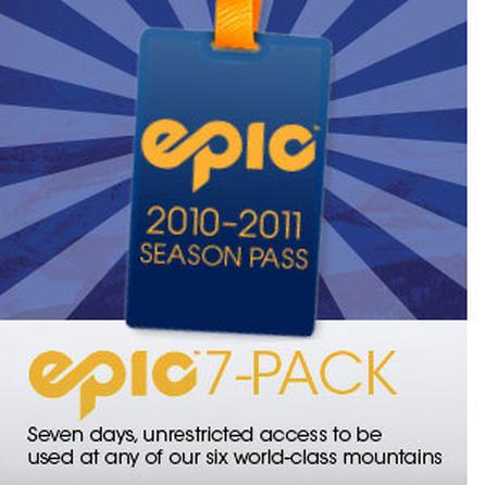 Vail Resorts 2010-2011 7-Pack Epic Pass -