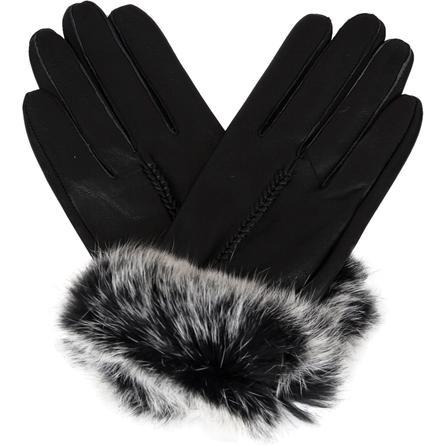 Elan Blanc Leather Gloves with Rabbit Fur (Women's) -