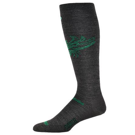 Point 6 Ski Phoenix Ski Sock (Adults') - Gray/Bright Lime