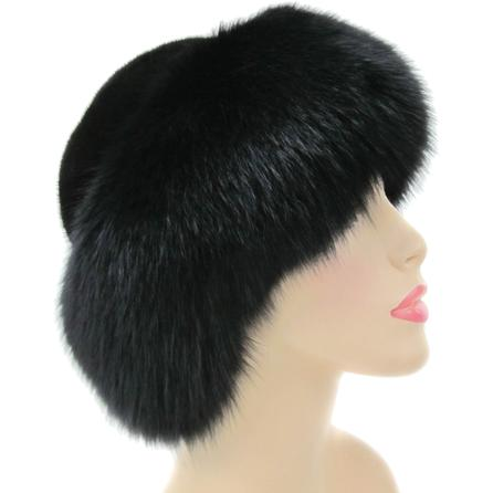 Mitchie's Beaver Hat with Fox Fur (Women's) - Black
