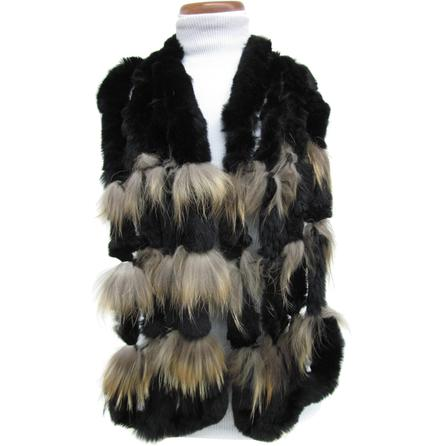 Mitchie's Rabbit Fur Scarf with Finn Raccoon (Women's) -