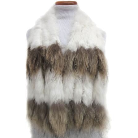 Mitchie's Rabbit Fur Scarf with Finn Raccoon (Women's) - White