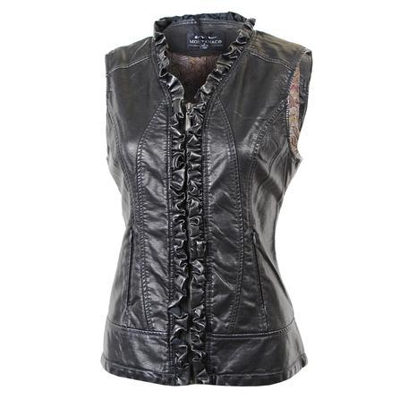 Montanaco Faux Leather Ruffle Vest (Women's) - Silver