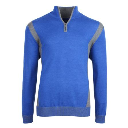 Bugatchi Zip Neck Patch Sweater (Men's) - Royal