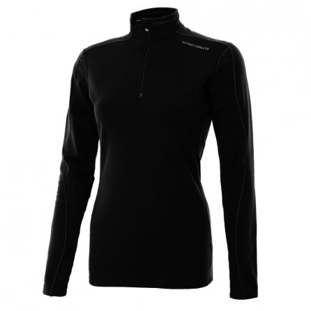 Hot Chillys Salsa Panel Zip Baselayer Top (Women's) - Black/Granite