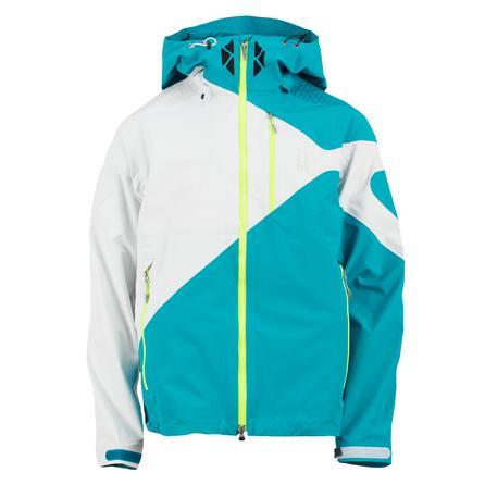 Spyder Eiger Shell Ski Jacket (Men's) - Tsunami/White/Neon Green