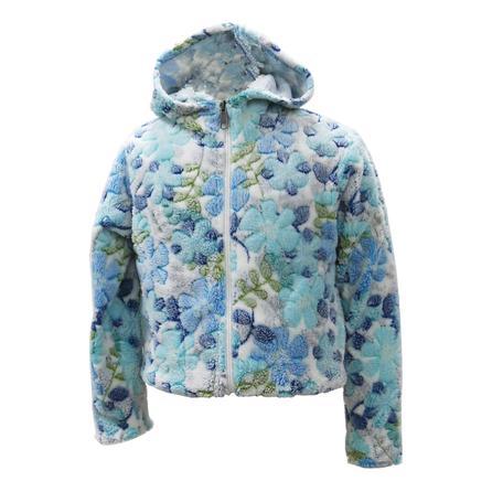 White Sierra Print Winter Blossom Bomber Fleece Hoody (Girls') - Blue Ice Combo