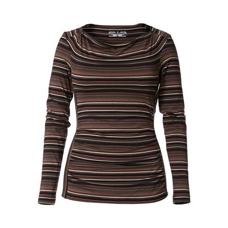Royal Robbins Tencel Stripe Cowl Neck Shirt (Women's) - Charcoal