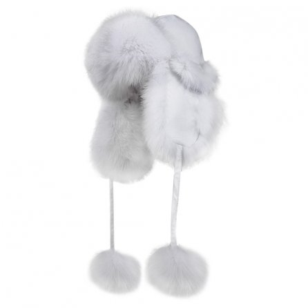 Peter Glenn Leather and Real Fur Trapper Hat (Adults') - White/Fox