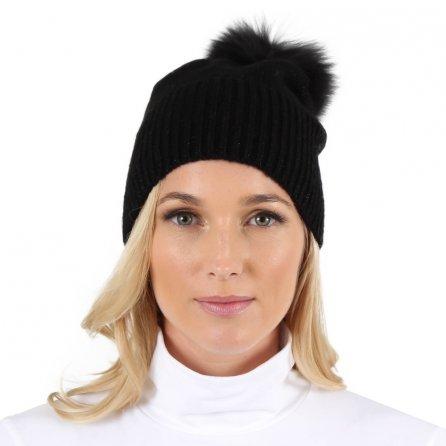 Peter Glenn Sparkle Knit Hat with Fox Pom (Women's) - Black