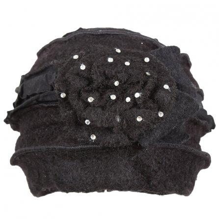 Elan Blanc Vintage Flower Cloche Wool Hat (Women's) - Black