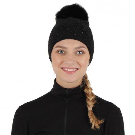 Peter Glenn Crystal Knit Hat with Fox Pom (Women's) - Black/Black Fox