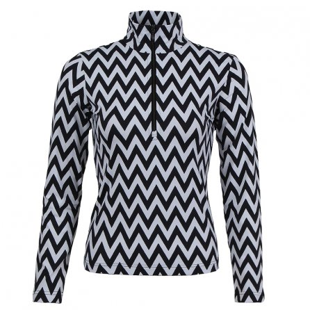 MDC Print Half Zip Turtleneck Mid-Layer (Women's) - White/Black Chevron