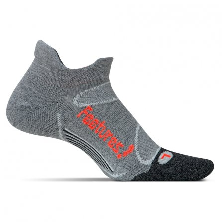 Feetures Elite Merino+ Cushion No Show Running Sock (Men's) - Gray/Lava