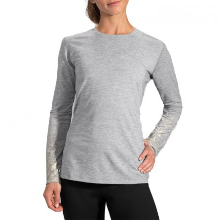 Brooks Distance Long Sleeve Running Shirt (Women's) - Heather Oxford/Sol Shine