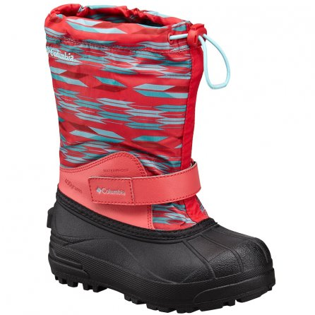 Columbia Powderbug Forty Print Winter Boot (Kids') - Red Camellia/Clear Blue